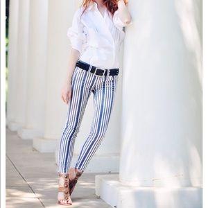 Free People Striped Skinny Jeans Pants Sz 26